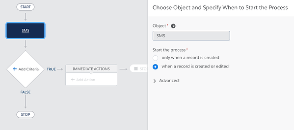 View of selecting SMS object to start the Process when a record is created or edited