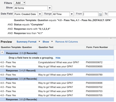 Building the Report for GPA with the Classic Report Builder view
