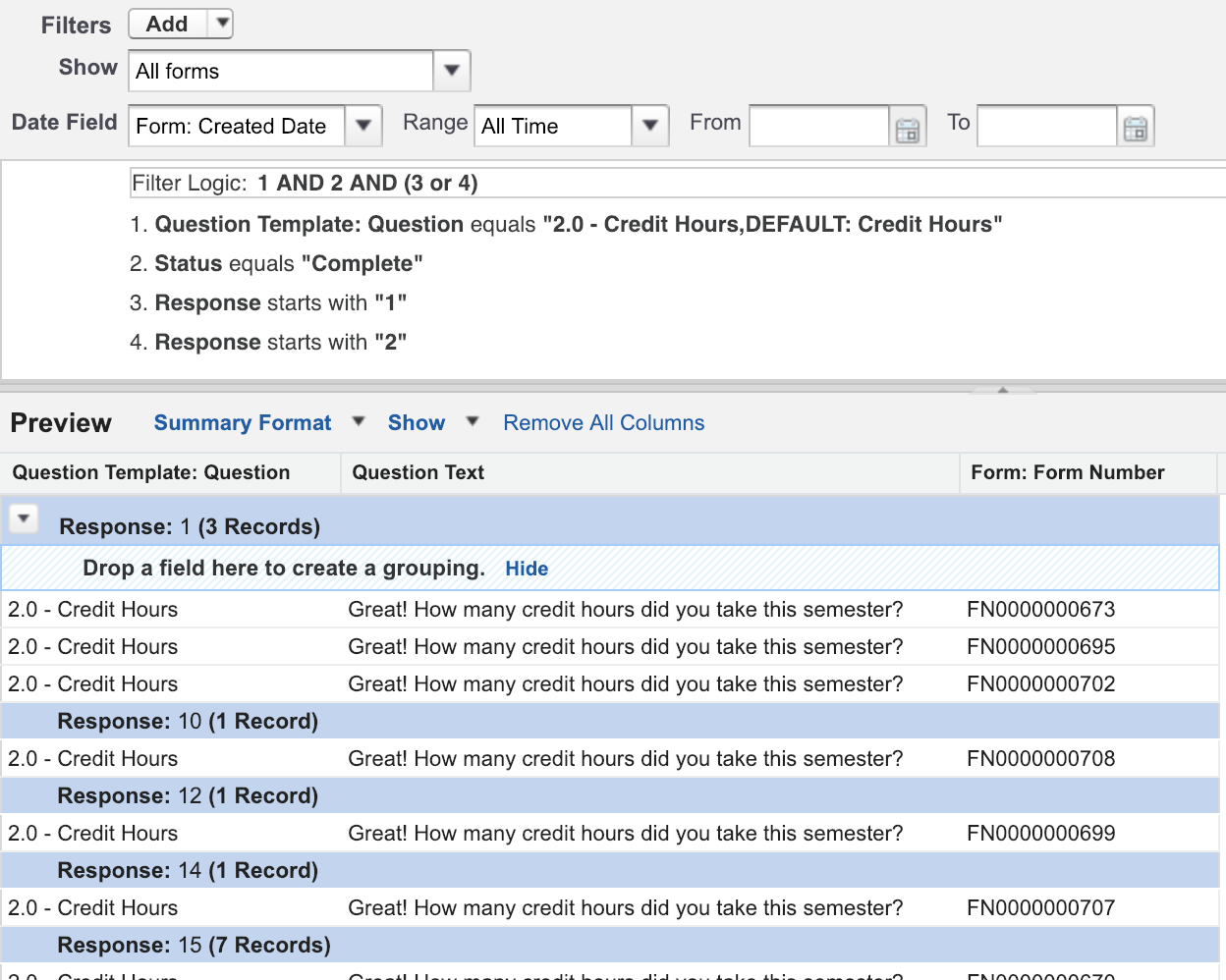 Building the Report for Number of Credit Hours with the Classic Report Builder view