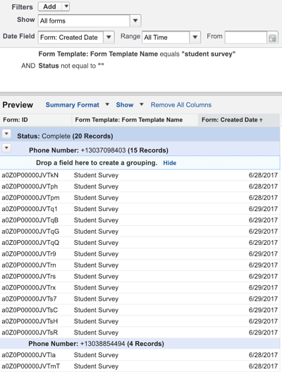 Building the Report for Total Surveys Initiated with the Classic Report Builder