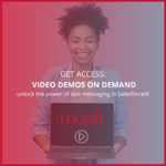 Mogli text messaging for Salesforce video demos on demand thumbnail with beautiful smiling professional black woman holding computer with mogli logo a