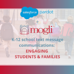 Pardot + Mogli for k12 school communications engaging students and families with text messaging article thumbnail young children with backpacks runni