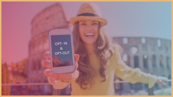 blog banner eu text messaging gdpr opt-in & opt-out with woman in yellow smiling holding pphone in rome