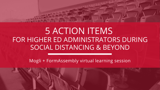 mogli + form assembly webinar, blog banner, for higher ed administration on salesforce