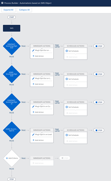 Process Builder view with Opt-in and opt-out automation