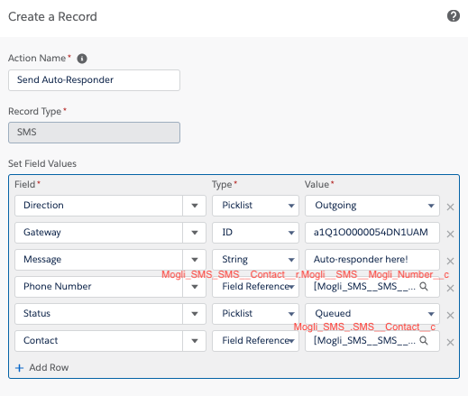 Creating a record of Contact on incoming SMS with Auto-Responder view