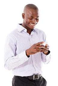 financial services client receiving a text via Mogli: SMS & WhatsApp for Salesforce