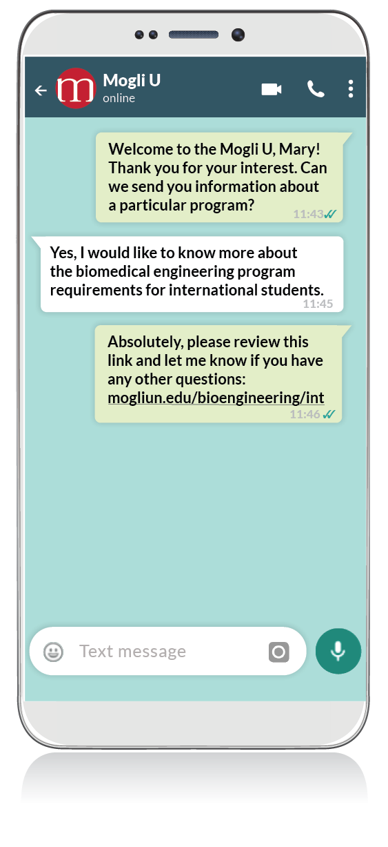 Whats App Mockups for higher ed request for information