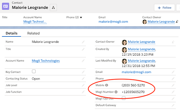 Contact or Lead record view for Populating Mogli Number