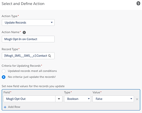 Adding an action for Contact opt-back-in automation