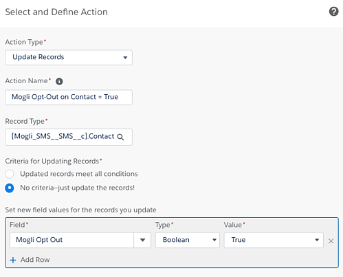 Adding an action for contact Opt-out automation