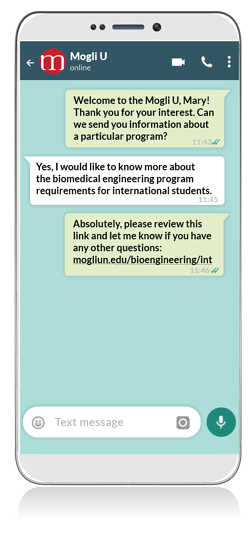 Mogli's WhatsApp functionality for higher ed, directly in Salesforce